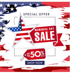 memorial day usa sale banner brush paint vector image