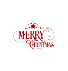 merry christmas unique hand-drawn typography red vector image
