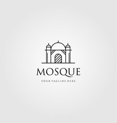 Mosque logo line art icon design vector