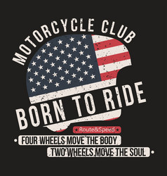 motorcycle t-shirt graphics helmet with usa flag vector image