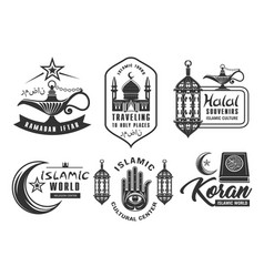 muslim culture islam religion icons vector image