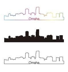 Omaha skyline linear style with rainbow vector image