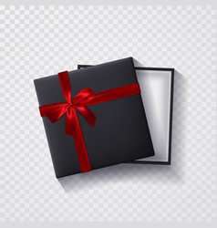 open black empty gift box with red bow and ribbon vector image
