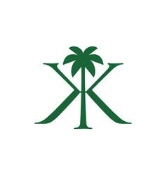 palm tree kk double k letter mark logo icon vector image
