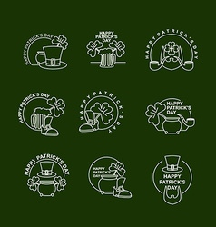 Patricks day set of emblems Clover and pot of gold vector