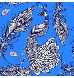 Peacock bird feathers seamless background pattern vector image