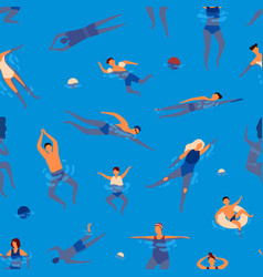 people swims in swimming pool performing water vector image