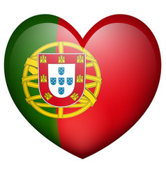 Portugul flag in heart shape vector