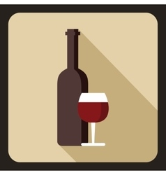 Red wine and glass icon flat style vector image