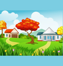 rural landscape with the houses and autumn season vector image
