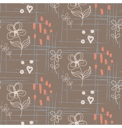 Rustic hand drawn flower seamless pattern vector
