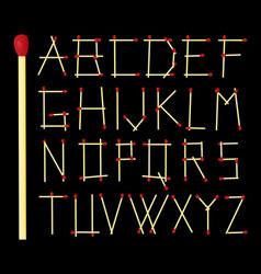 Safety match alphabet - design vector