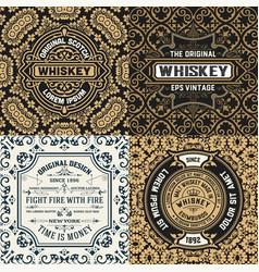 set four ornate vintage labels vector image