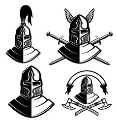 set knight helmets with swords axes design vector image