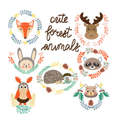 Set of cute forest elements animals and plants vector