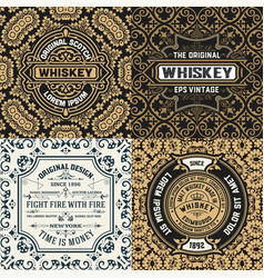 set of four ornate vintage labels vector image vector image