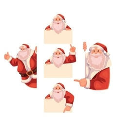 Set of Santa Claus holding a sign giving thumbs vector