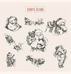 set santa clauses hand drawn sketch vector image