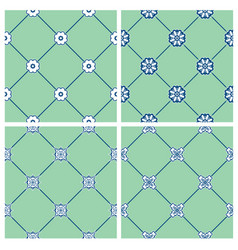 set seamless patterns - blue and white ceramic vector image