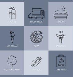 Set simple fast food icons outline stroke vector
