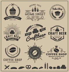 Sets bake shop craft beer coffee shop logo vector