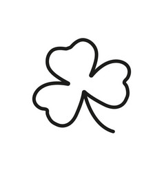 Shamrock icon outline irish clover symbol vector