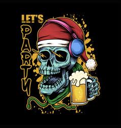 skull beer christmas vector image
