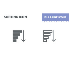 sorting icon fill and line flat design vector image