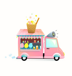 Sweet street food vending truck with cotton candy vector