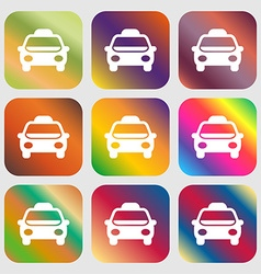 Taxi Icon sign Nine buttons with bright gradients vector