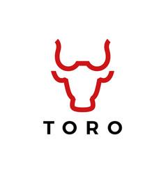 toro bull head line logo icon vector image