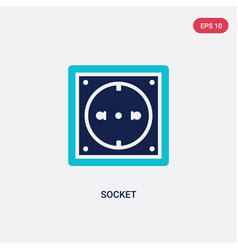 Two color socket icon from electrian connections vector