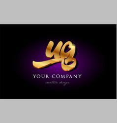 ug u g 3d gold golden alphabet letter metal logo vector image