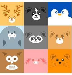 various cute face animal face vector image