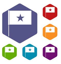 vietnam flag icons set vector image