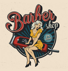 vintage barbershop colorful emblem vector image