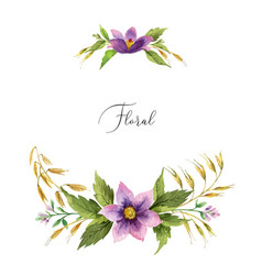 Watercolor hand painted wreath with meadow vector