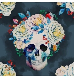 Watercolor skull pattern vector
