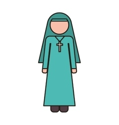 Woman nun icon vector