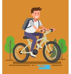 Young man with bike vector