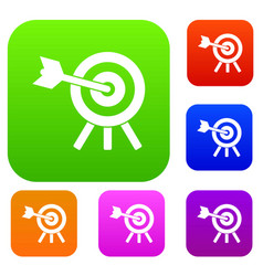 arrow hit the target set collection vector image