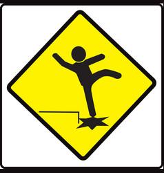 beware step sign warning symbol vector image
