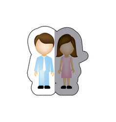 color couple with brown hair icon vector image vector image