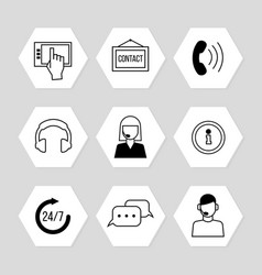 contact centre or online support icons set vector image vector image