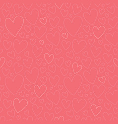 dark pink oulined hearts seamless pattern vector image