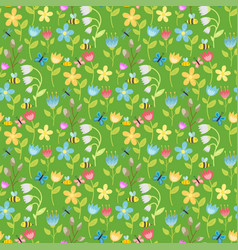 flowers foliage butterfly seamless pattern vector image vector image