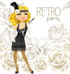 retro glamour girl vector image