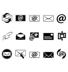 email symbol icons set vector image vector image
