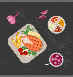 grilled fish and french fries vector image vector image