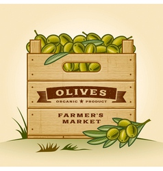 Retro crate of olives vector